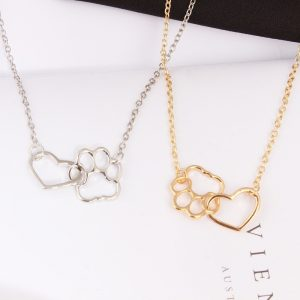 Pet Paw and Heart Shaped Pendant Necklace