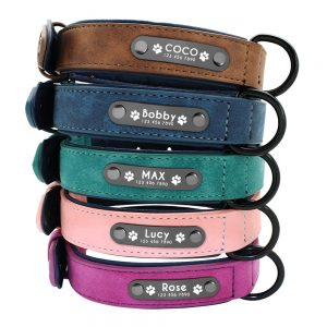 Dog's Leather Collar with ID Tag